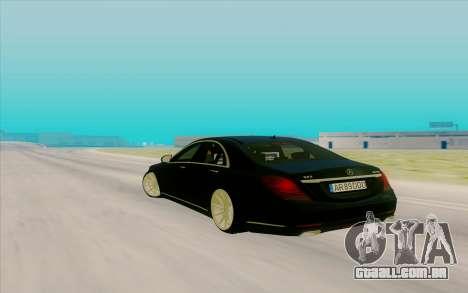Mercedes Benz S63 para GTA San Andreas traseira esquerda vista