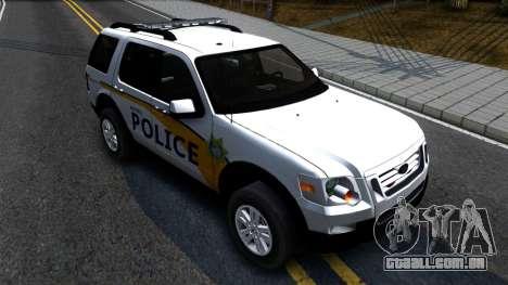 Ford Explorer Metro Police 2009 para GTA San Andreas vista direita