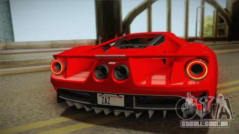 Ford GT 2017 No Stripe para GTA San Andreas vista traseira