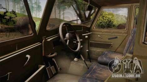 УАЗ-3151 CoD4 MW Remasterizada de FERTILIZAÇÃO i para GTA San Andreas vista interior