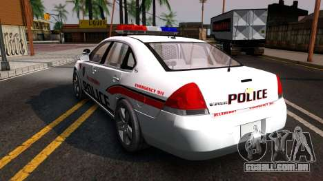Chevy Impala Blueberry PD 2009 para GTA San Andreas traseira esquerda vista