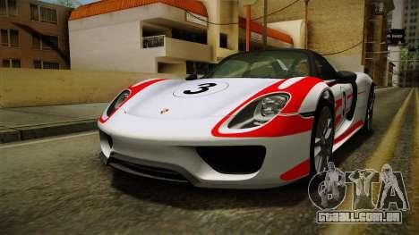 Porsche 918 Spyder 2013 Weissach Package SA para o motor de GTA San Andreas