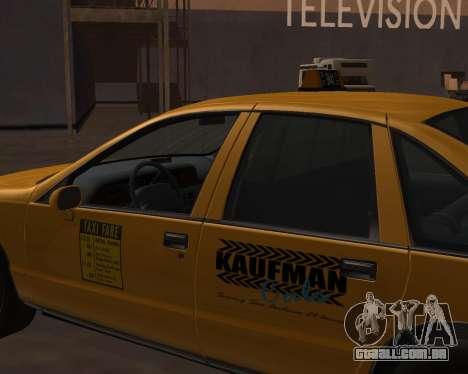 Chevrolet Caprice Taxi Kaufman para GTA San Andreas vista direita