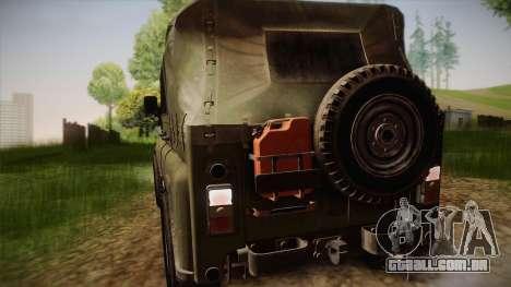 УАЗ-3151 CoD4 MW Remasterizada de FERTILIZAÇÃO i para GTA San Andreas vista traseira