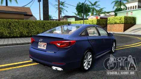 Hyundai Sonata 2016 para GTA San Andreas traseira esquerda vista