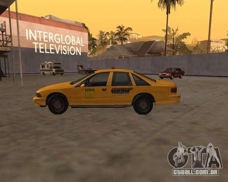 Chevrolet Caprice Taxi Kaufman para GTA San Andreas esquerda vista