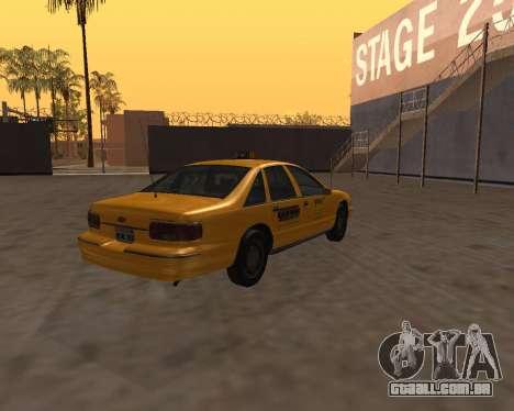 Chevrolet Caprice Taxi Kaufman para GTA San Andreas traseira esquerda vista