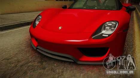 Porsche 918 Spyder 2013 Weissach Package SA para vista lateral GTA San Andreas