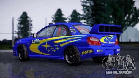 Subaru Impreza WRX STI WRC Rally 2005 para GTA San Andreas traseira esquerda vista