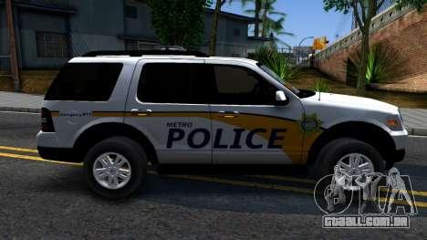 Ford Explorer Metro Police 2009 para GTA San Andreas esquerda vista
