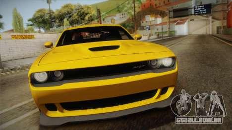 Dodge Challenger Hellcat 2015 para GTA San Andreas vista direita