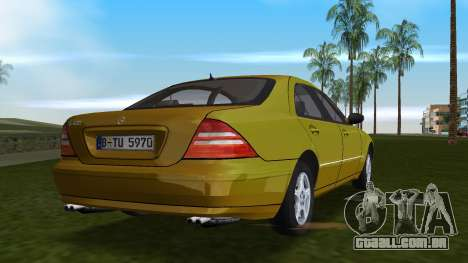 Mercedes-Benz S600 W220 para GTA Vice City vista traseira