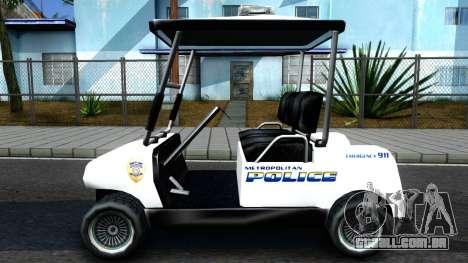Caddy Metropolitan Police 1992 para GTA San Andreas esquerda vista