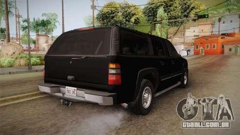 Chevrolet Suburban Z71 FBI para GTA San Andreas vista direita