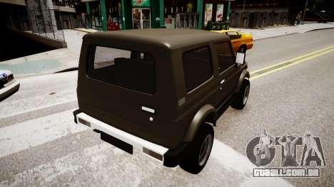 Suzuki Samurai v1.0 para GTA 4 traseira esquerda vista