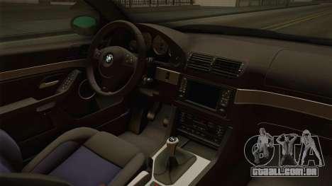 BMW M5 E39 Stock 2001 para GTA San Andreas vista interior
