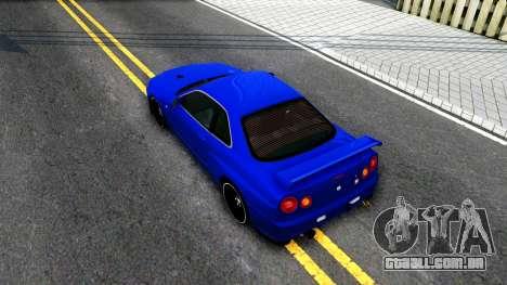 Nissan Skyline R34 para GTA San Andreas vista traseira