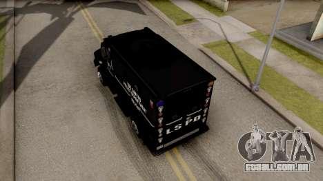 BearCat SWAT Truck para GTA San Andreas vista traseira