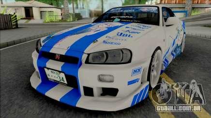 Nissan Skyline GT-R R34 1999 C-WEST Gawr Gura para GTA San Andreas
